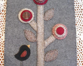 Primitive Penny Rug - Candle Mat - Black Bird and Penny Flowers
