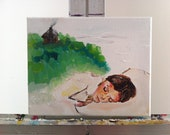 ORIGINAL Abstract Painting of Girl Dreaming