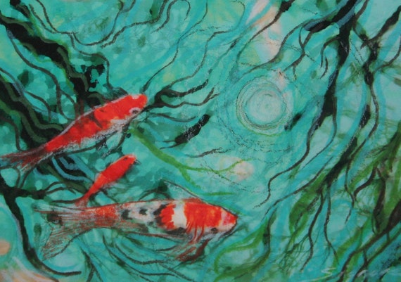 Winter reflections, ACEO, Original, Signed, Altered art photograph 2.5x3.50 inches,Miniature, Koi aceo, gift