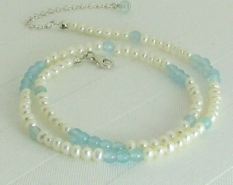 White Pearls, Aqua Chalcedony, and Sterling Silver Adjustable Necklace