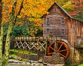 Autumn Landscape Photography Grist Mill Photo Glade Creek Golden 5 x 7 Photograph Office And Home Decor
