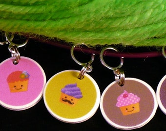 STITCHMARKERS for KNITTERS or CROCHETERS, Hipster Cupcakes