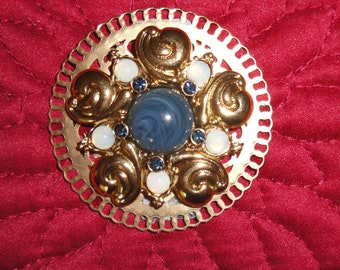 Vintage white and navy blue brooch on 2 inch gold tone round metal, Classic design recycled with magnetic back clasp, Bonus scarf included