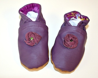 Recycled Purple Leather Crib Shoes Soft Baby Shoes with Leather Flower Size 9 to 12 Months OOAK