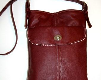 OOAK Recycled Burgundy Leather Cross Body Shoulder Bag