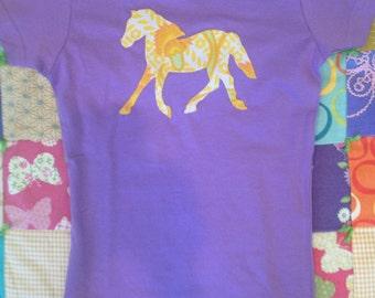 Little girls purple and retro yellow floral print horse pony tee size medium