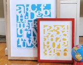 Alphabet print OR Number print in modern, graphic letters and numbers, CUSTOM, LARGE