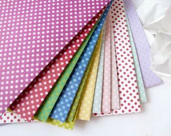 12 Assorted Mini Polka Dot Envelopes - Letter or A2