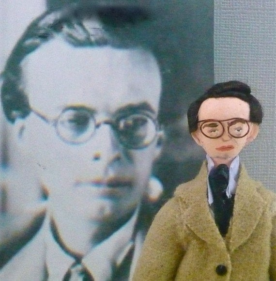 Aldous Huxley Doll Art Miniature Author and Writer