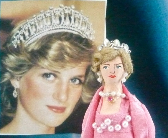 Diana Princess of Wales Art Miniature in Rose Pink Gown