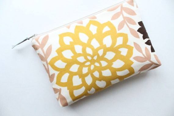 Clutch Zipper Pouch, Yellow Flower, Cosmetic Bag, Make Up Bag, Bridesmaid Gift, LAST ONE