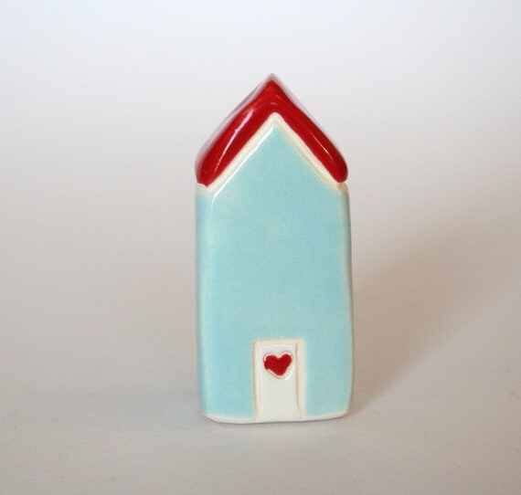 Miniature Terrarium House Blue Aqua Red