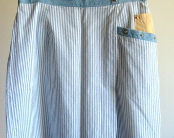 Vintage Nautical Stripe Culottes - Blue and White Stripe with Cotton Denim and Gold Buttons Trim