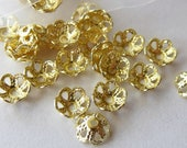 4mm Gold Plated Filigree Bead Caps, Pack of 100 *CLEARANCE*