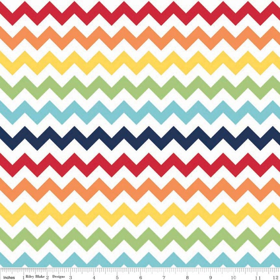 Riley Blake Small Chevron in Rainbow 1 Yard Cotton Quilting Fabric