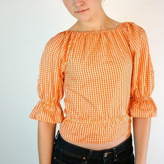 Orange Gingham Blouse / Halloween Blouse