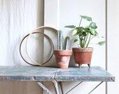 ON SALE  Pair Large Vintage Wood Embroidery Hoops / Modern Frame, Shelf
