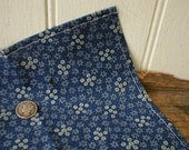 Floral indigo selvedge pocket square, handkerchief - eco vintage fabric in the 19th century manner