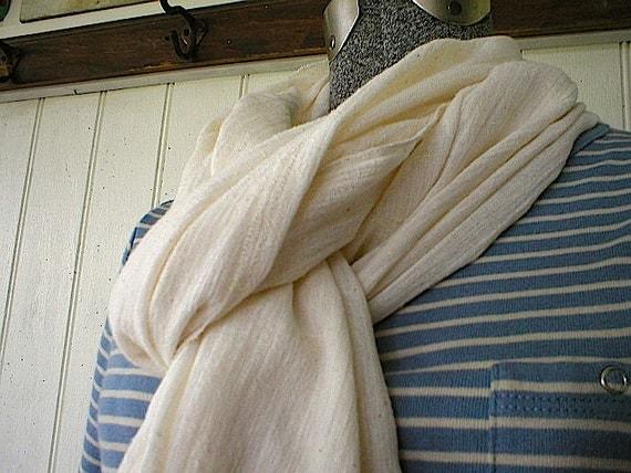 SALE Cotton gauze scarf wrap, cream - selvedge extra long - eco vintage fabric FREE SHIPPING