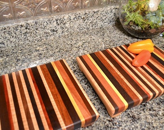 Personalized Laser Engraved Handmade Wood Cutting Board Set - Bloodwood, Yellowheart Custom Gift