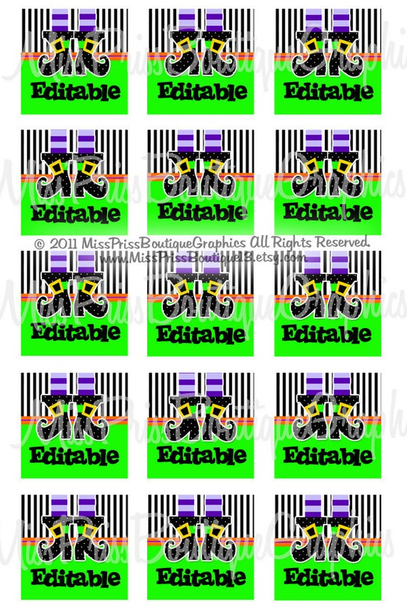 4x6 - EDITABLE PDF - Instant Download - Polkadot Witchy Boots - Editable Digital One Inch SQUARE  Image Collage No.755