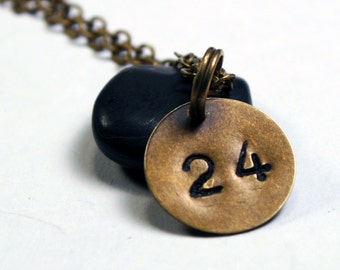 Personalized Number Necklace - Custom Brass Necklace / Tiny Charm