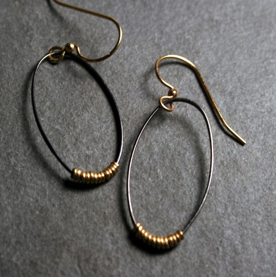 Mixed Metal Oval Earrings