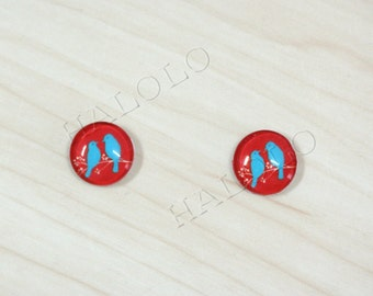 10pcs handmade two blue birds silhouette on red round clear glass dome cabochons 12mm (12-0202)