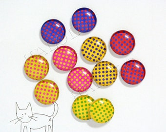 12pcs handmade assorted vibrant colors dots round clear glass dome cabochons 12mm (12-0227)