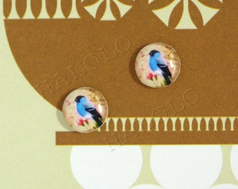 Sale - 10pcs handmade blue bird round clear glass dome cabochons 12mm (12-0282)