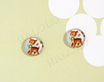 Sale - 10pcs handmade little deer round clear glass dome cabochons 12mm (12-0289)