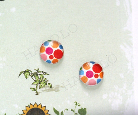 10pcs handmade colorful big dots round clear glass dome cabochons 12mm (12--0313)