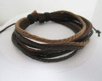 Multiple Shades of Brown Leather Wrap Bracelet Cuff 15% OFF SALE