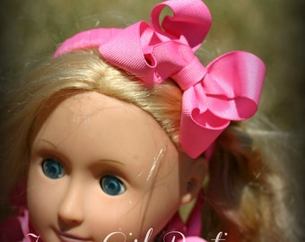 Doll 18 inch Large Boutique Bow Headband - You Choose From 44 Different Colors
