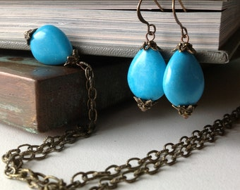 Turquoise Necklace and Earring Set - Blue Stone Teardrops - Adjustable Necklace