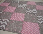 Elephants You Are My Sunshine in Pink Dots and Gray Chevron Minky Blanket You Choose Size MADE TO ORDER No Batting