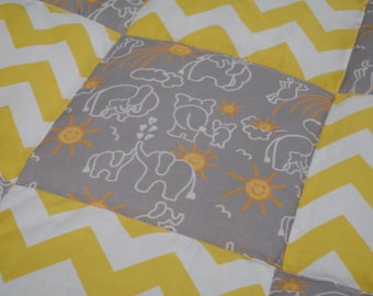 Elephants You Are My Sunshine in Gray and Yellow Chevron Minky Blanket You Choose Size MADE TO ORDER No Batting