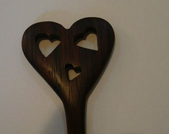 Heart Shaped Chopstick Hair Sticks from East Indian Rosewood With tiny heart cut outs Gifts Under 25 Dollars