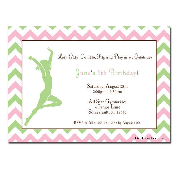 Gymnastics Party Invitations with adorable invitations template
