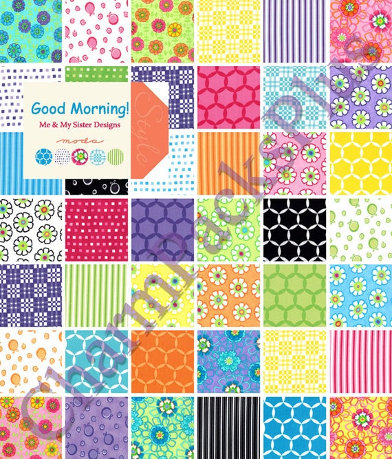 Moda GOOD MORNING Charm Pack - Five Inch Quilt Fabric Squares - 22180PP