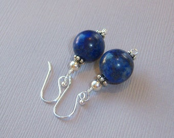 Wire Wrapped Lapis Lazuli Beads and Silver Daisies