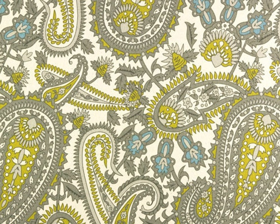 Custom Grommet Yellow And Gray Paisley Drapes-Lined