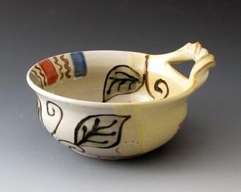 Soup Bowl with Handle with Leaf Design, Handmade, Ceramic Bowl, Fine Art Ceramics, Bowls