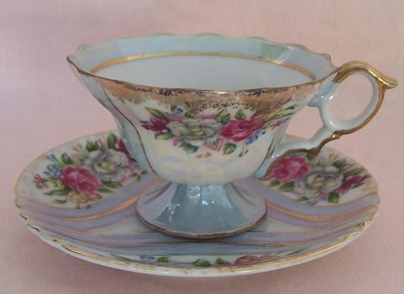 Vintage Iridescent Roses Tea Cup & Saucer