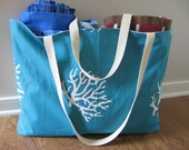 Beach Bag Extra Large - Sea Coral on Turquoise Beach Tote - Waterproof Beach Bag - Turquoise Beach Tote - Interior Pocket