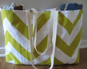 Beach Bag Extra Large - Big Soho Green & White Chevron Beach Tote - Water Resistant Lining - Interior Pocket