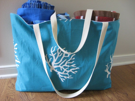 Extra Large Beach Tote, Beach Bag Turquoise Coral print, READY TO SHIP