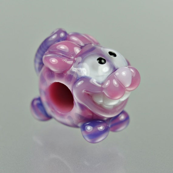Cheshire Cat Big Hole Bead - Purple and Pink - Handmade Lampwork by Puddy Tat Glass