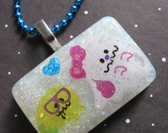 Halloween Nerdy Ghost Love Resin Necklace