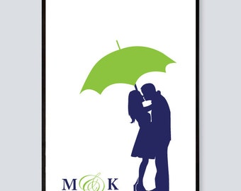 Personalized Wedding Gift, Name Print, Couple under Umbrella Silhouette, Bridal Shower Gift